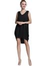 Casual V Neck High Low Hem Asymmetric Shift Tank Mini Dress