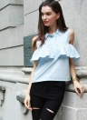 Nouveau Mode Femmes Col Cold Shoulder Blouse Ruffle Overlay Bouton Turn-down shirt bleu