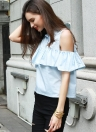 Cold Shoulder Ruffle Overlay Shirt Blouse