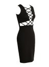 Sexy Sleeveless Cross Strap Front Solid Color Bodycon Mini Dress