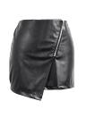 Jupe Nouveau Femmes Sexy PU Zipper avant de Split Solid Color Slim Mini-jupe moulante Clubwear Noir