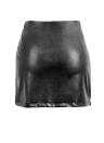 PU nuove donne sexy gonna chiusura lampo anteriore Split solido di colore Slim aderente Minigonna Clubwear nero