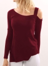 Fashion Women Knitted Pullover One Shoulder Long Sleeve Asymmetric Hem Knitwear Tops