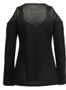 Fashion Women  Lace-Up V Neck Long Sleeve Solid  Casual T-Shirt