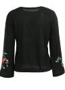 Femmes Tricoté Pull Floral Broderie Pullover Jumper Flare Manches Longues Casual Lâche Tops