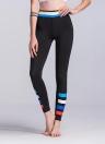 Frauen-Sport-Gamaschen-bunte Kontrast-Streifen-Druck-hohe Taillen-dünne laufende Yogahosen