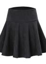 Mode féminine couleur unie haute taille A-ligne courte mini patineuse plissée jupe
