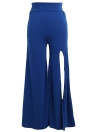 Women Pants Solid Color Side Split High Waist Wide Loose Flared Legs Baggy Casual Trousers