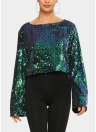 Sexy Women O Neck Glittering Bling Sequin Flare Sleeve T-Shirt