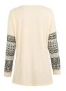 Women Long Sleeve O-Neck Geometric Print Sleeve T-Shirt