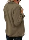 Women Faux Fur Fleece Waterfall Drape Coat