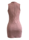 Suede Mini Dress Lace Up V-Neck Sleeveless Nightclub Party Bodycon Pencil Dress
