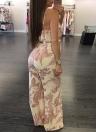Mujeres Sexy Slip Jumpsuit Deep V cuello estampado de rayas florales correa de espagueti pantalones de pierna ancha Slim Playsuit mamelucos