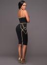 Sexy Women Stripe Spaghetti Strap Party Midi Dress