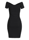 Sexy Women Solid Off the Shoulder Bodycon Midi Dress