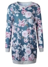 Sexy Women Flora Print O-Neck Long Sleeve Vintage Straight Dresses Mini Dress