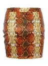 Mujeres faldas de cintura alta estampado de piel de serpiente cremallera frontal lápiz partido corto del club bodycon mini faldas naranja