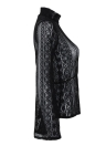 Women Lace Blouse Long Flare Sleeve Semi-sheer Slim  Plus Size Shirt