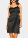 Sexy Women Slip Lace Hollow Out Satin Spaghetti Strap Slim Bodycon Mini Dress