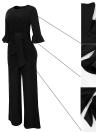 Mujeres atractivas Mono O-cuello Flare medias mangas Belt Wide Legs Solid elegante Casual Romper