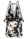Sexy Women Floral Print Cold Shoulder Plunging V Neck Off the Shoulder Slip Mini Dress