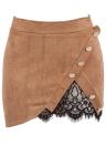Las mujeres de la moda de imitación de gamuza de cintura alta botón de empalme de cordón Preppy Bodycon Mini falda