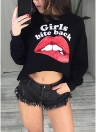 Women's Sexy Red Lips Print Letter Crop Top O-Neck Sleeves Long Tee