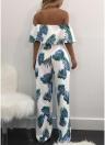 Mujeres del hombro Strapless Playsuit overoles estampado de hojas Pantalones largos bolsillos mangas cortas mamelucos