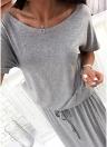 Женщины Maxi Long O-Neck с короткими рукавами пояс с эластичной талией вскользь