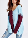 Women V-Neck Pullover Jumper Contrast Long Sleeve Loose Casual Knitted Sweater