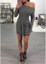 Sexy Women Striped One Shoulder Waist Strap Knot Long Sleeve Slim Mini Bodycon Dress