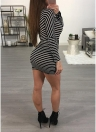 Sexy Women Striped One Shoulder Cintura Strap Knot Long Sleeve Slim Mini Bodycon Dress