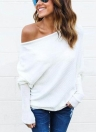 Mulheres Loose Ribbed Off the Shoulder One Shoulder Asymmetric Round Neck Batwing Sleeve Casual T-shirt