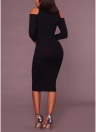 Women Cold Shoulder Midi Dress Turtleneck Long Sleeve Solid Bodycon Casual Party Off the Shoulder Pencil Dress
