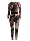 Traje corto retro de manga larga con cuello en V y estampado floral de mujer vintage