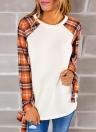 Camiseta coreana de las mujeres de la moda a cuadros mangas cuello redondo Bowknot Pullover Tops