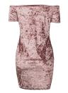 Mulheres Bodycon Velvet Mini Dress Off the Shoulder Short Sleeve Solid Nightclub Party Slash Neck Pencil Dress