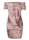 Women Bodycon Velvet Mini Dress Off the Shoulder Short Sleeve Solid Nightclub Party Slash Neck Pencil Dress