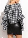 Blusa cuadros mujeres Top volantes manga larga con cuello en V camisa casual elegante