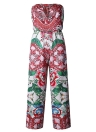 Mulheres Jumpsuit Floral Print Off the Shoulder Rompers Backless Boho Loose Playsuit Pink