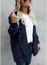Chaqueta larga con capucha de las mujeres Chaqueta con capucha Rebeca de piel sintética Forro polar abierto Bolsillos delanteros Outwear abrigos casuales