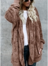 Women Hooded Long Coat Jacket Hoodies Cardigan Faux Fur Fleece Open Front Pockets Outwear Casual Overcoats
