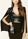 Giacca con paillettes da donna mantello Mantello aperto aperto con poncho in cardigan con cappuccio giacca casual topwear outwear