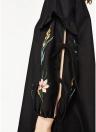 Mini abito da donna con volant a maniche lunghe con lacci ricamati floreali vintage