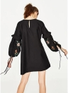 Women Vintage Floral Embroidery Lace Up Long Sleeve Frill Mini Dress
