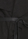 Automne Hiver Femmes Veste Manteau Grand Revers PU Cuir Splice Pardessus Manches Longues Casual Survêtement Noir