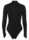 Choker Deep V Neck Hollow Out Strappy Front Glove Sleeves Bodysuit