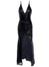 Les femmes paillettes longue robe dos nu haute split split v-cou robe de soirée
