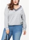 Camisola tamanho grande Contrast Stripes V Neck manga comprida Mulheres Casual Pullover