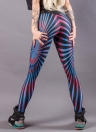 Women Yoga Leggings Printed Stretchy Gym Tights Trousers Blue